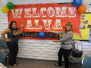 Tressy Snowden, 3rd Grade teacher, THE DECORATOR, and Alva celebrate the Circus Buzz in the teacher's lounge with totally amazing decorations and yummy food