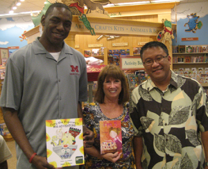Fellow author Seth Fowler, Alva, and Eric, the manager of the Calabasas B and N store