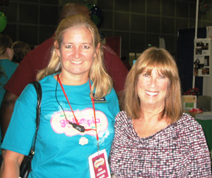 Julie Lovelock, head of Girltopia, and Alva share a photo opt before 12,000 girls and families enter the LA  Convention Center